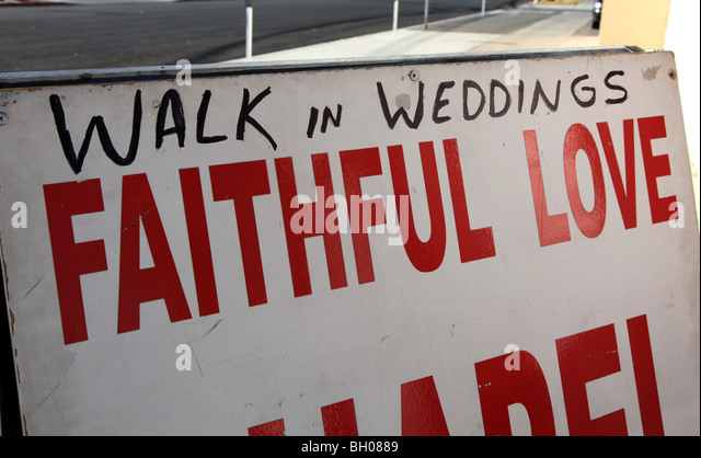 Sign For Walk In Wedding Chapel Las Vegas Nevada USA