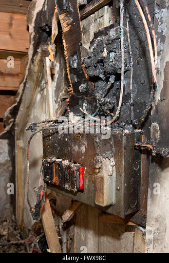 a fusebox in a house which caught fire due to a power surge fwx98c old fuses fuse box stock photos & old fuses fuse box stock images old fuse box for home at reclaimingppi.co