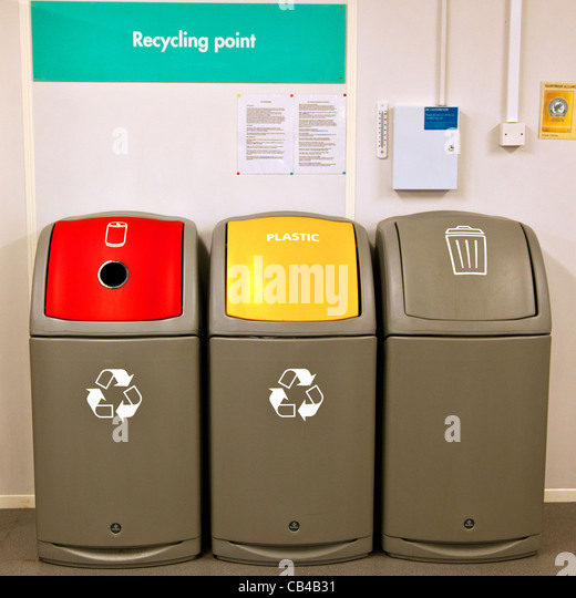 Recycling Bins At Recycling Point In Office Complex   Stock Image