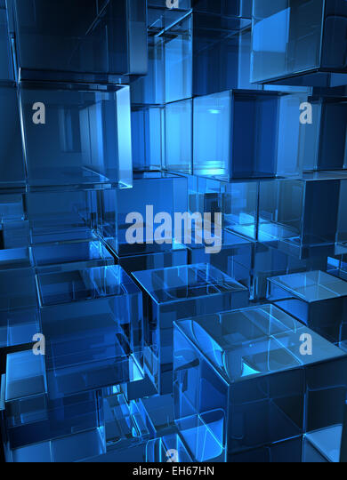 Abstract Background Composed By Glass Cubes. Digitally Generated Image    Stock Image