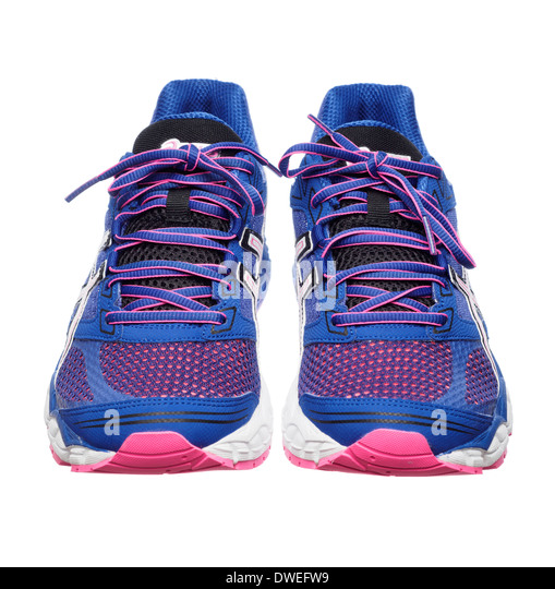 Blue and pink Asics Gel Pulse 5 running shoes - Stock Image