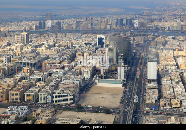 Dubai overview with The Creek river aerial view photography UAE - Stock Image