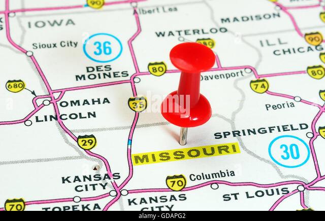 Missouri State Map Stock Photos Missouri State Map Stock Images - Missouri map usa