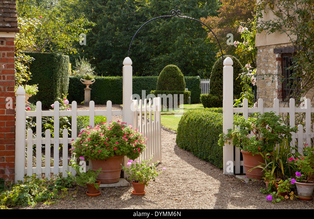 Picket fence gate stock photos