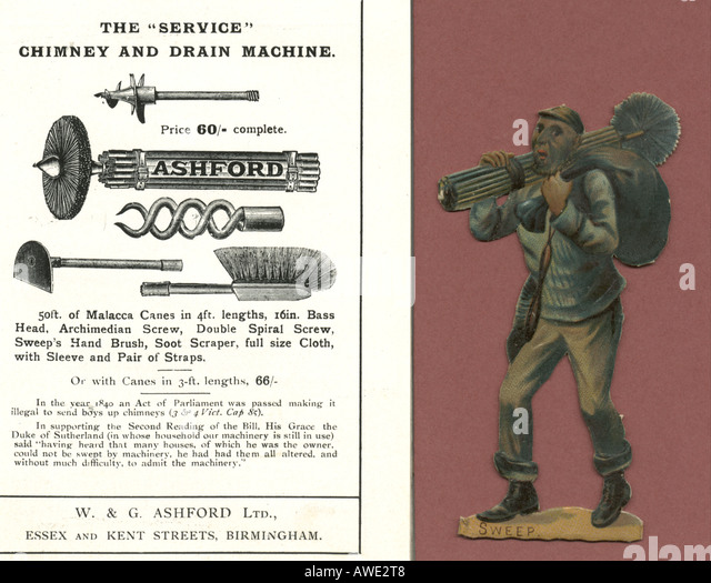 Scrap of chimney sweep with catalogue page of tools 1890 stock image