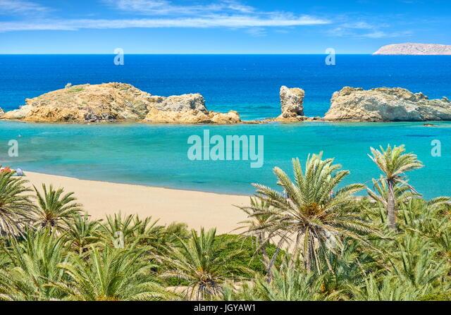 Vai Beach and palm trees, Crete Island, Greece - Stock Image