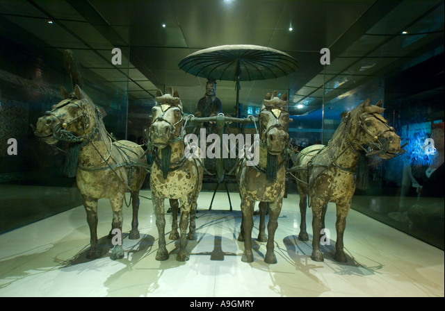 Xians Qin Shihuangdi Museum Number 1 Bronze Chariot In One Half Scale Pulled By Four Horse