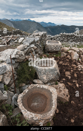 Old Stone Sinks : Old stone sinks, used by cowherds in the high pastures of the Taygetus ...