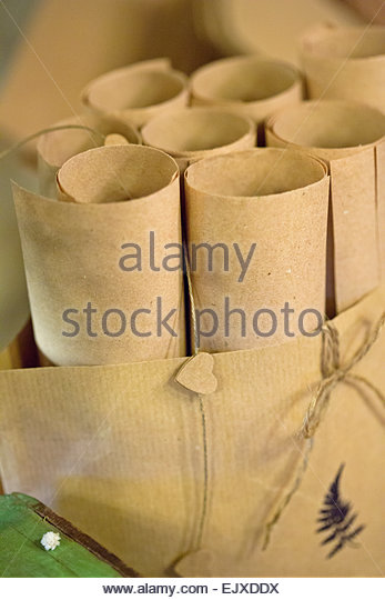 Hand crafted bag stock photos hand crafted bag stock for Decorative paper rolls