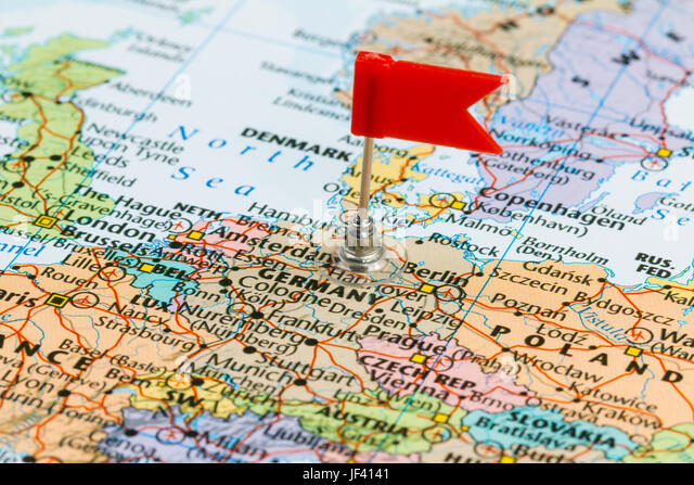 Berlin pinned on map germany stock photos berlin pinned on map photo of germany marked by red flag in holder country on european continent gumiabroncs Image collections