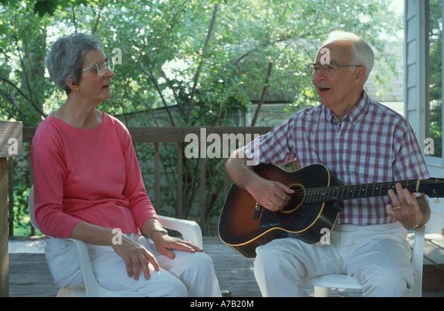 Mature Couple Guitar Singing Stock Photos & Mature Couple Guitar Singing Stock Images