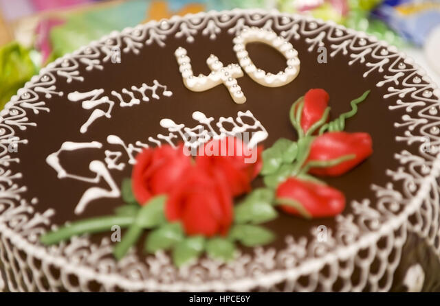 40th birthday cake stock photos 40th birthday cake stock images alamy. Black Bedroom Furniture Sets. Home Design Ideas