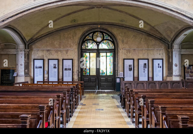 Zionskirche, Zion Church Interior, Pews And Stained Glass Door   Stock Image