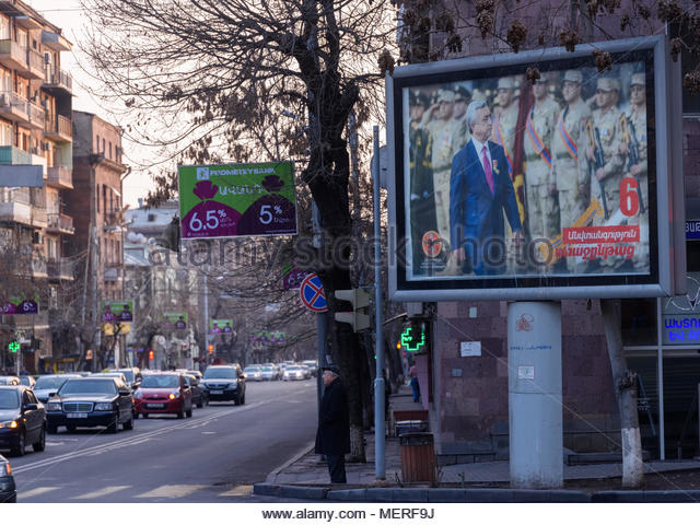 Election poster of the Republican Party of Armenia in parliamentary elections  2017 - Stock Image