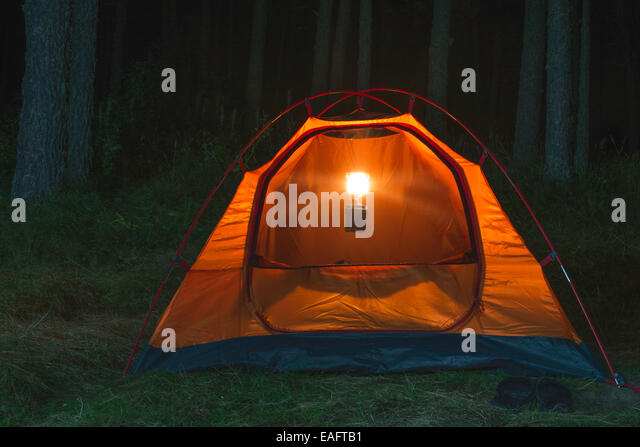 Orange tent in the forest at night - Stock Image & Orange Tent In Forest Night Stock Photos u0026 Orange Tent In Forest ...