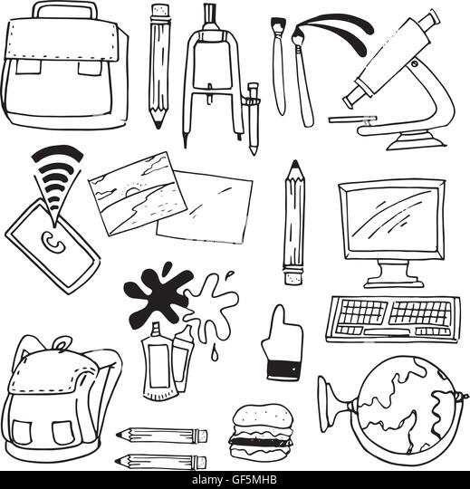 Scribble Drawing Of Objects : School object doodles classroom supplies stock photos