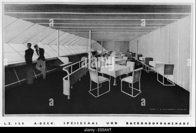 Interior Of The Zeppelin LZ 129 U0027Hindenburgu0027   Stock Image
