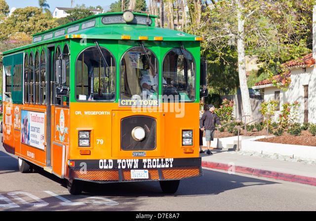 Old Town Trolley Tour Bus Near San Diego California USA