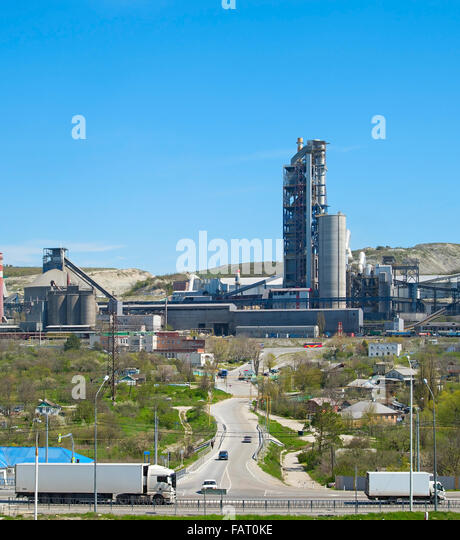 Huge Cement Plant : Batch factory stock photos images