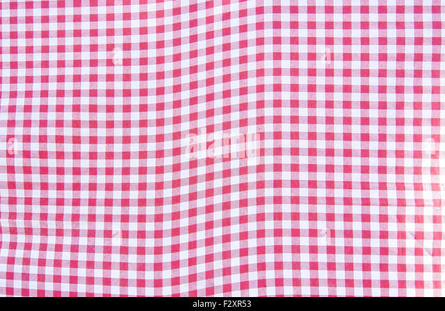 Red And White Checkered Table Cloth Fabrics Background.   Stock Image