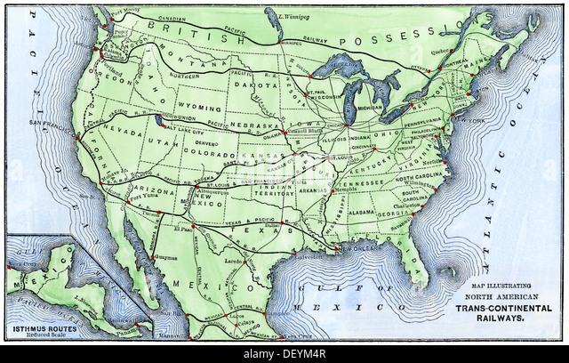 Transcontinental Railroad Map Stock Photos Transcontinental - Us transcontinental railroad map