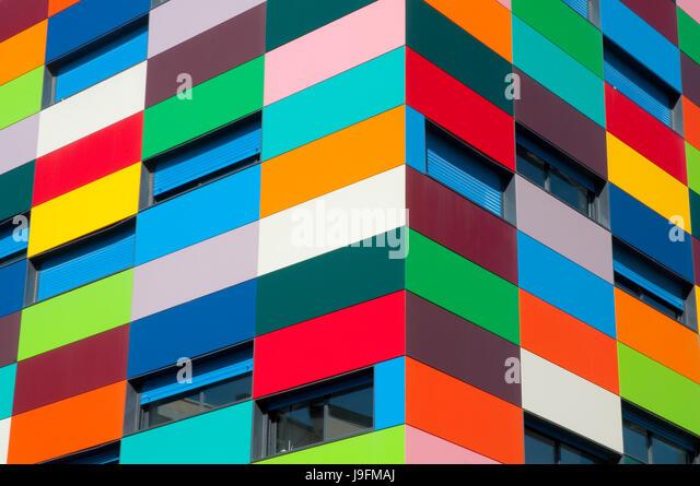 Facade of Colorines building. PAU carabanchel, madrid, Spain. - Stock Image