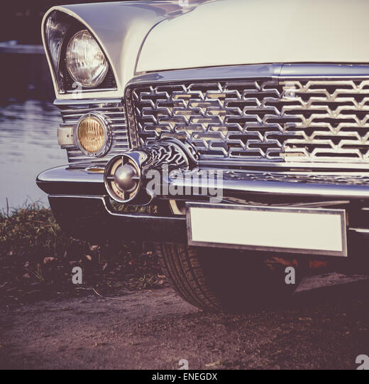 Vintage Automobile Front Center With One Headlight : Automotive lights stock photos