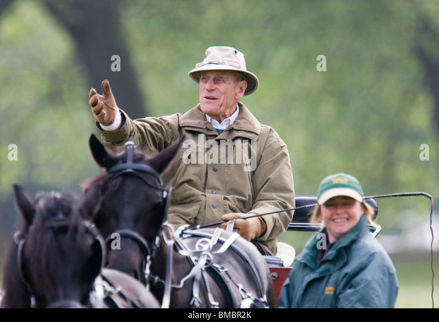Prince Philip Riding His Carriage In Windsor Home Park And Viewing The Event At