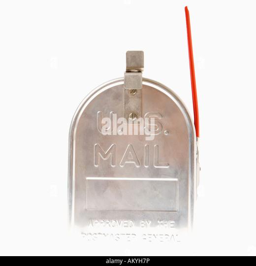 metal mailbox flag. Shiny Silver Metal Mailbox With Flag Up - Stock Image O