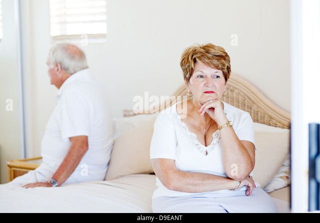 elderly couple relationship issue   Stock Image. Husband And Wife And Argue And Bedroom Stock Photos   Husband And