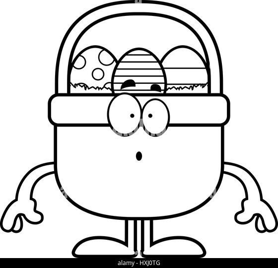 A Cartoon Illustration Of An Easter Basket Looking Surprised