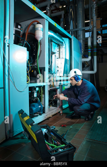 Electrical Engineer Equipment : Boiler repair industrial stock photos