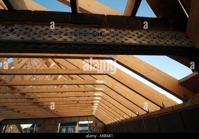 Prefabricated roof trusses stock photos prefabricated for Prefab roof rafters