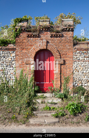 Wighton United Kingdom  city images : ... door and gateway in a high garden wall, Wighton, Norfolk Stock Image
