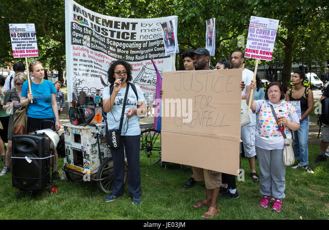 London, UK. 21st June, 2017. Antonia Bright from Movement For Justice By Any Means Necessary addresses activists - Stock Image