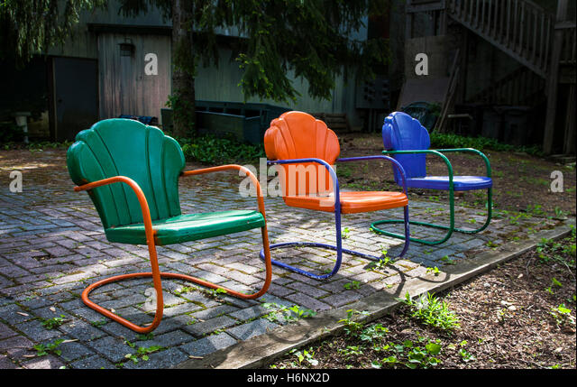 colorful vintage chairs lawn garden furniture new jersey usa stock image