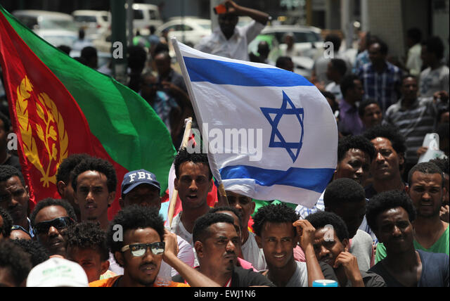 Image result for israel eritrean refugees with flags