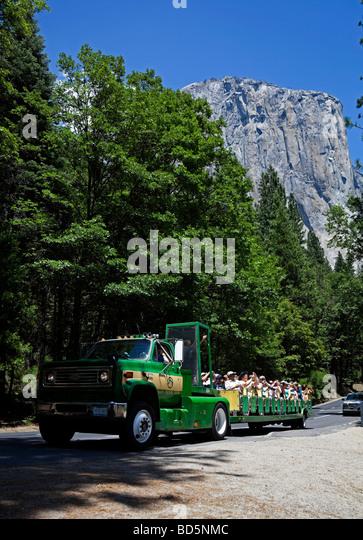 Valley Floor Tour Vehicle, Yosemite National Park, California USA   Stock  Image