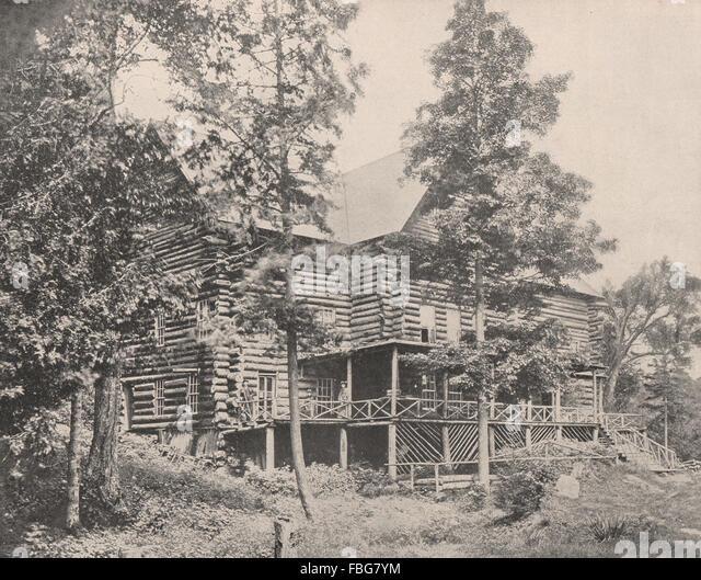 Old log cabin, Lake Placid, Adirondacks, New York, antique