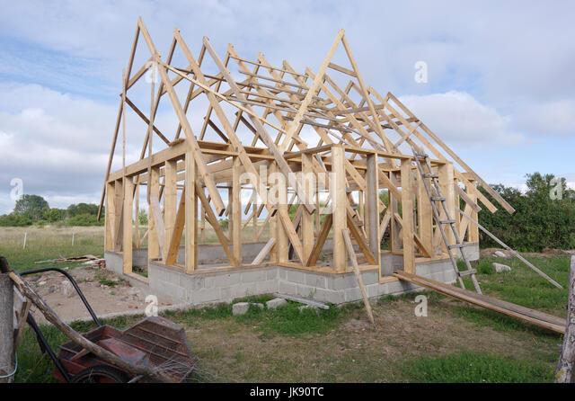 Small house under construction on Manija island, Estonia 9th July 2017 - Stock Image