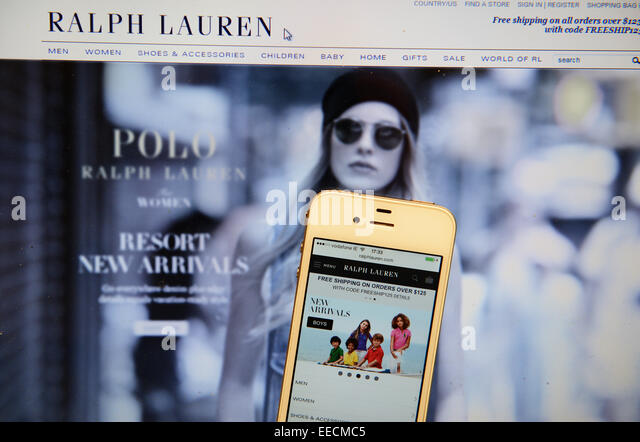 Ralph Lauren Website and IPhone - Stock Image