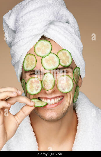 Man guy cucumber mud facial funny