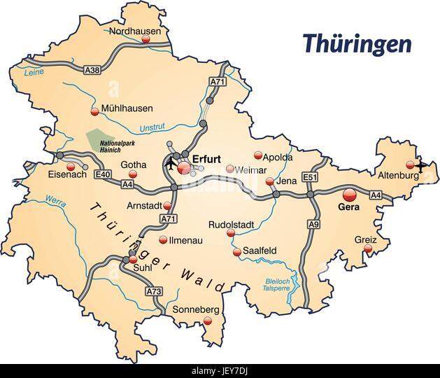 Map Thueringen Transport Network In Stock Photos Map Thueringen