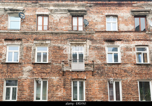 High Quality Exterior Of An Occupied Brick Apartment Building Left Over From Communist  Time Period When All Decorations Part 26
