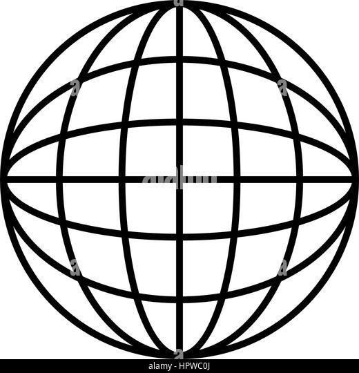 Flat Design Earth Globe Diagram Icon Vector Illustration
