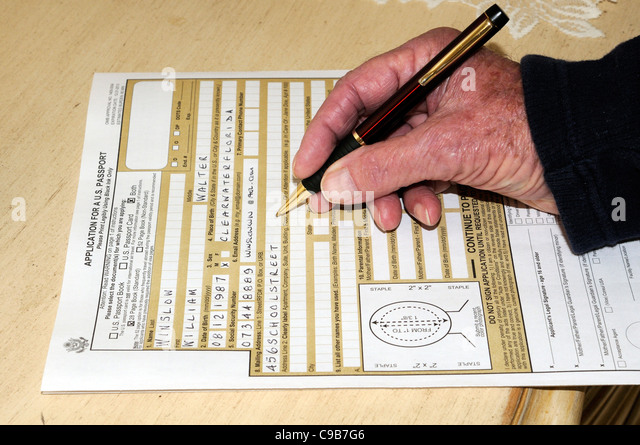 Completing Application Form Pen In Stock Photos Completing