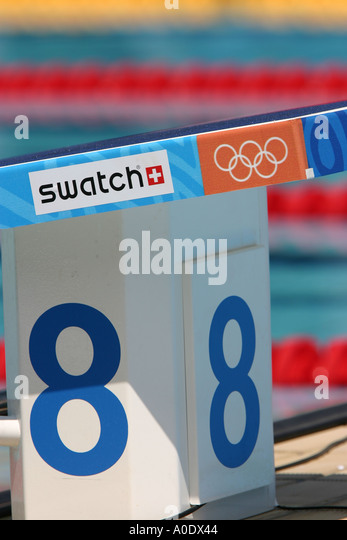 starting block at the olympic swimming pool at the athens olympics stock image