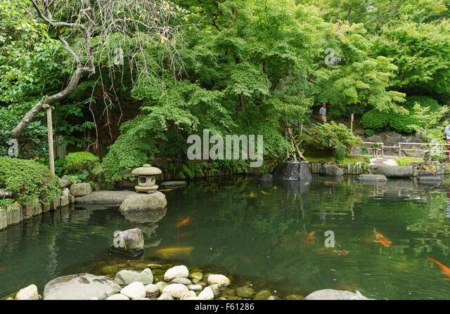 Koi fish in pond stock photos koi fish in pond stock for Japanese garden with koi pond