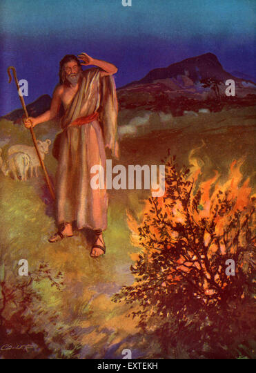 1920s usa moses and the burning bush book plate stock image