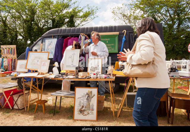 A Stall On Car Boot Sale In Suffolk England Britain Uk